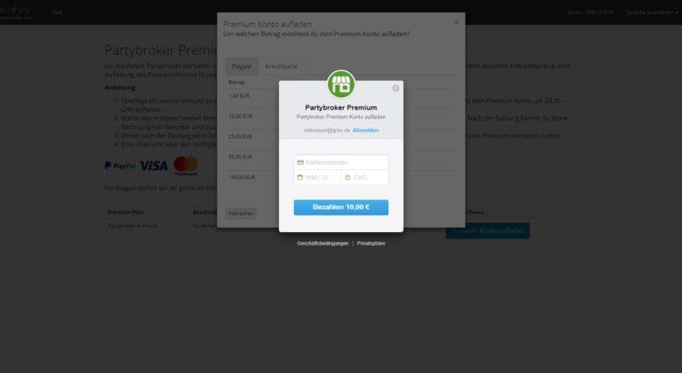 Partybroker Premium sicher per Kreditkarte zahlen